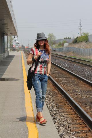 Train tracks looking forward