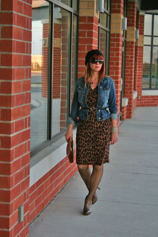 Jean jacket leopard dress