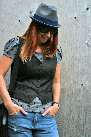 Dark grey pin stripe vest