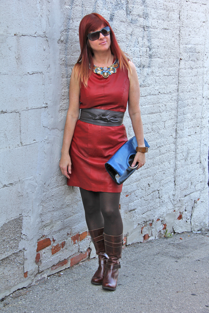 Leather dress brown leather boots