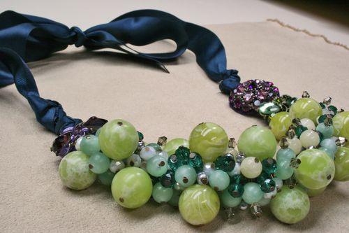 Green blue aqua beaded necklace 1000