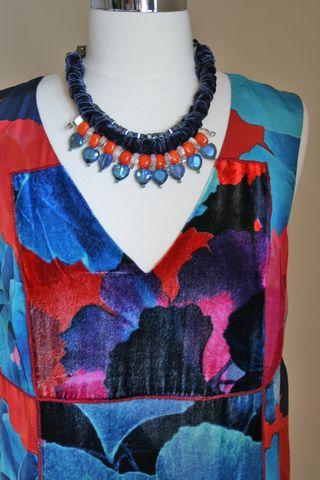 Blue orange velvet necklace suzanne carillo 1000