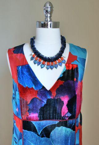 Orange blue velevet necklace suzanne carillo 1000
