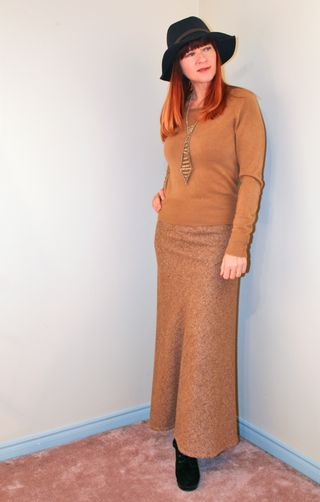 Gap hat tweed maxi skirt brown sweater