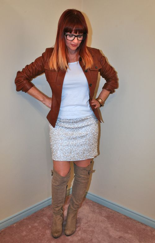 White sequined Tommy Hilfiger skirt jcrew leather jacket