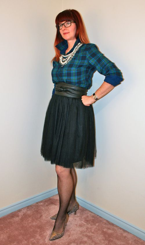 Black tulle skirt plaid flannel shirt pearls
