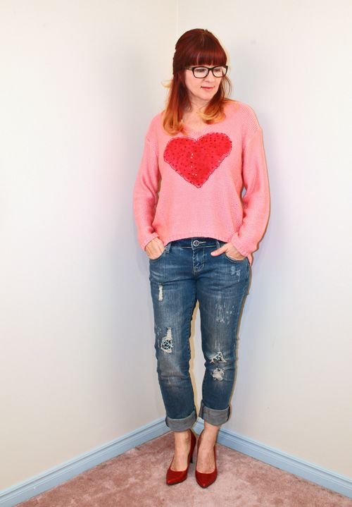Heart sweater with jeans