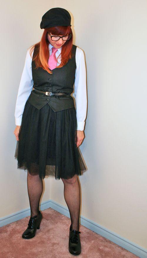 Black vest pink tie black tulle skirt