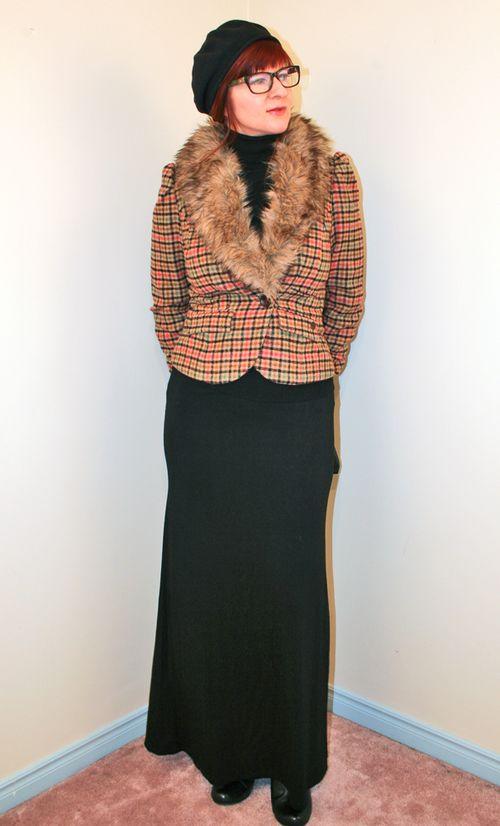 Black maxi skirt fur trimmed jacket