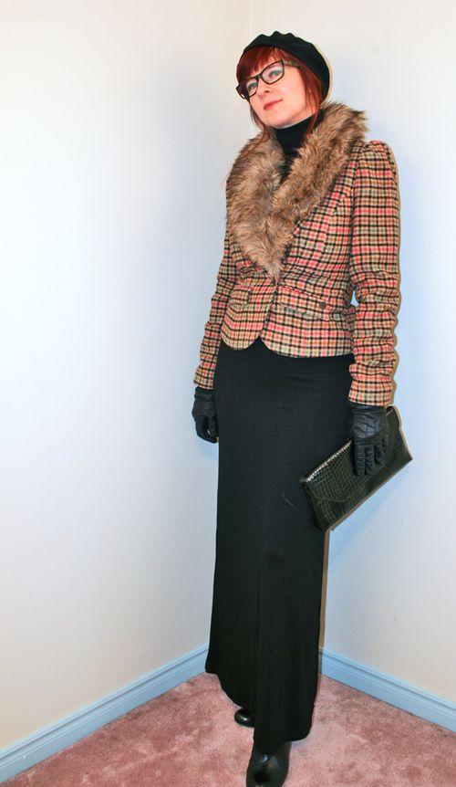 Mod cloth fur trimmed blazer