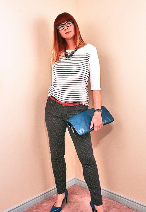 Polka dot jeans striped shirt