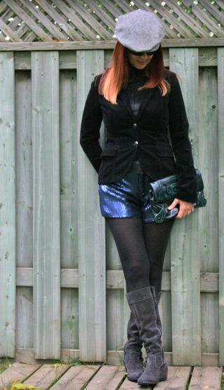 Blue sequin shorts