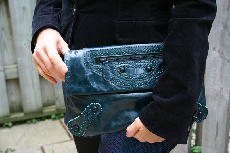Danier teal leather clutch