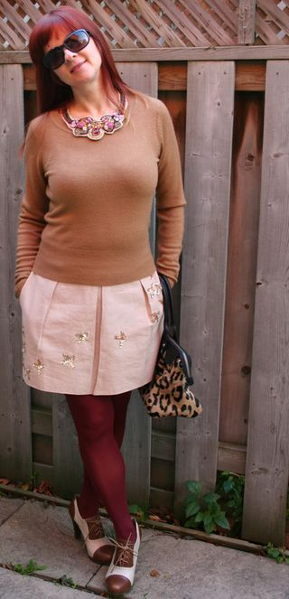 Anthro skirt and brown sweater