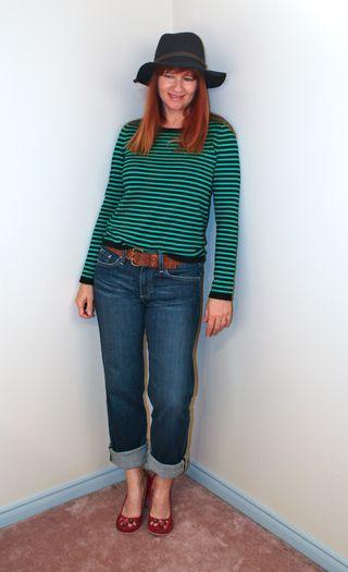 Green blue striped sweater H&M