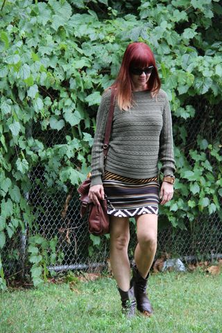 Green sweater tribal skirt brown