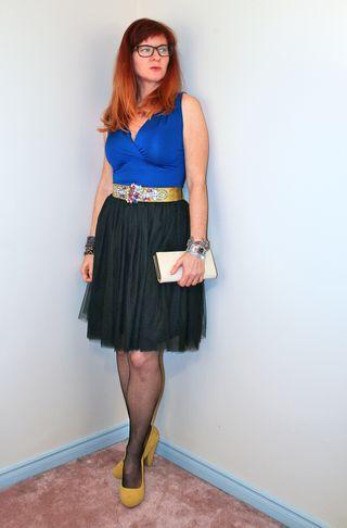 Black tulle skirt blue top
