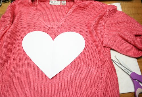 DIY heart shape sweater