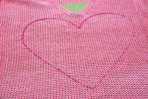 Heart traced onto sweater