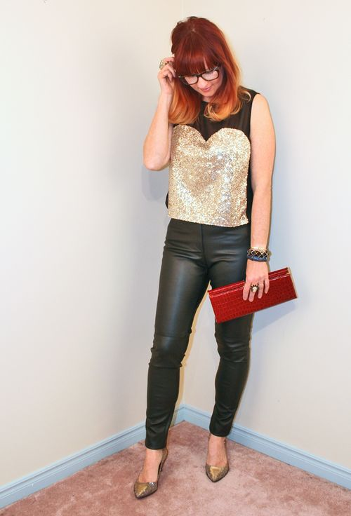 Leather pants gold heart sequin top