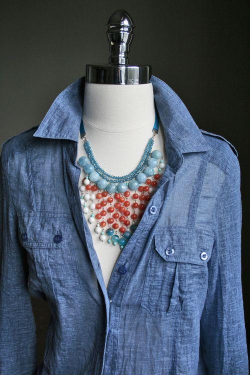 Orange blue handmade beaded necklace
