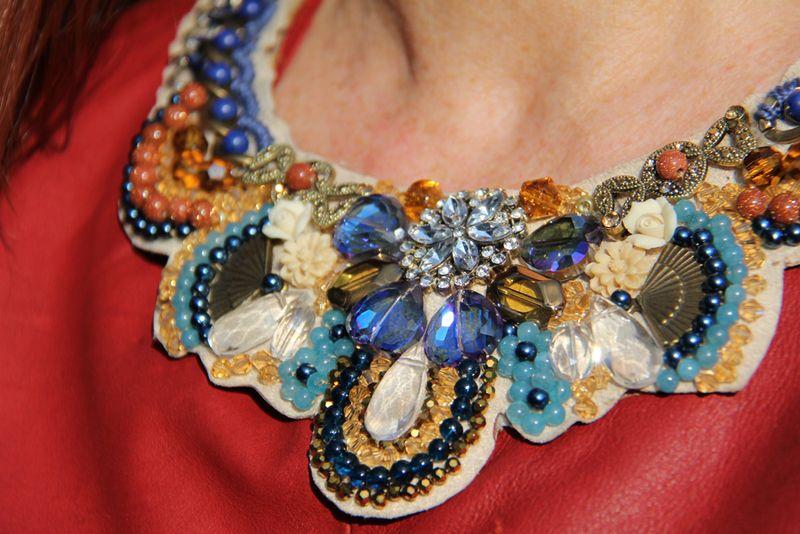 Close up handmade jewel necklace