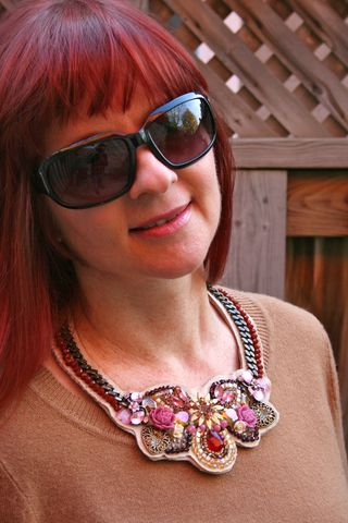 Jewel encrusted handmade necklace