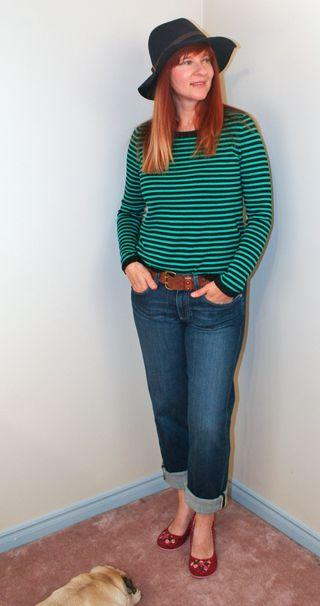 Jeans striped sweater gap hat