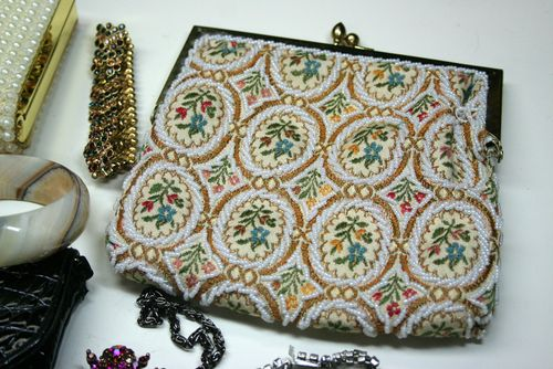 Beaded tapestry clutch