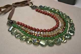 Gold bronze green necklace