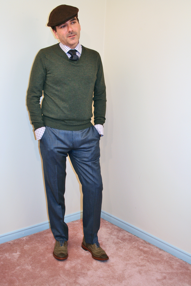 Purple Check Shirt Blue Tie Green Sweater