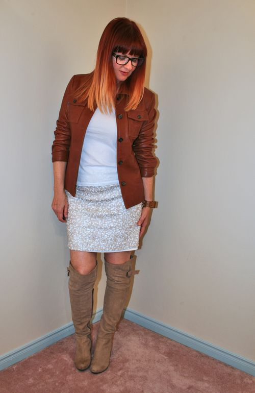 White sequined skirt brown leather jacket