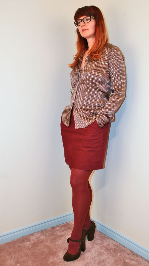 Rust H&M skirt silk blouse