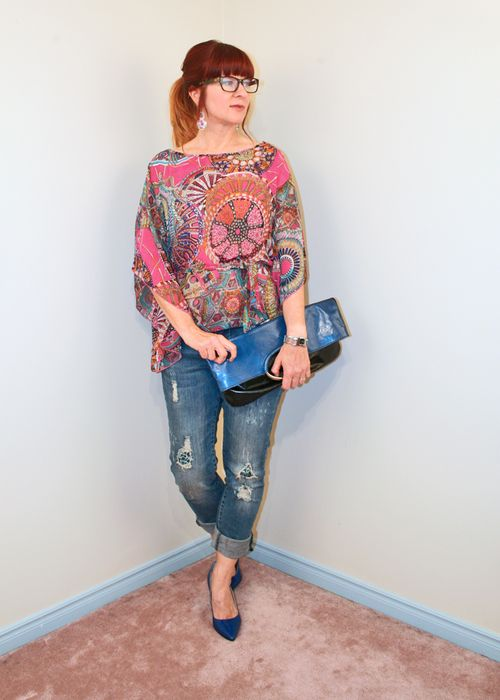 Patterned silk blouse blue high heel shoes