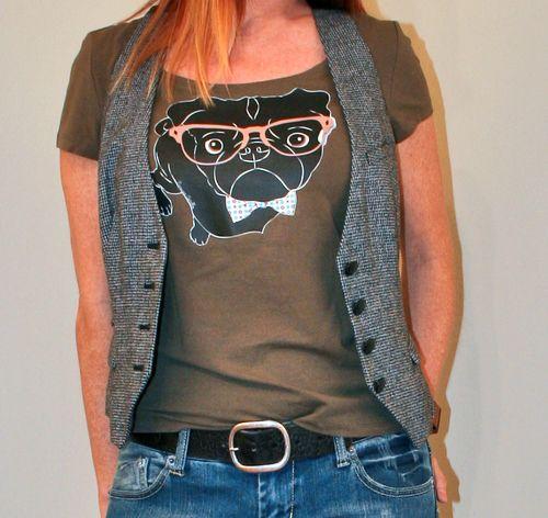 Black pug wearing bow tie and glasses tshirt