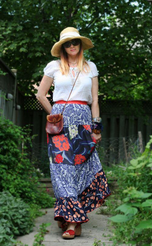 Anthropologie maxi skirt patterned
