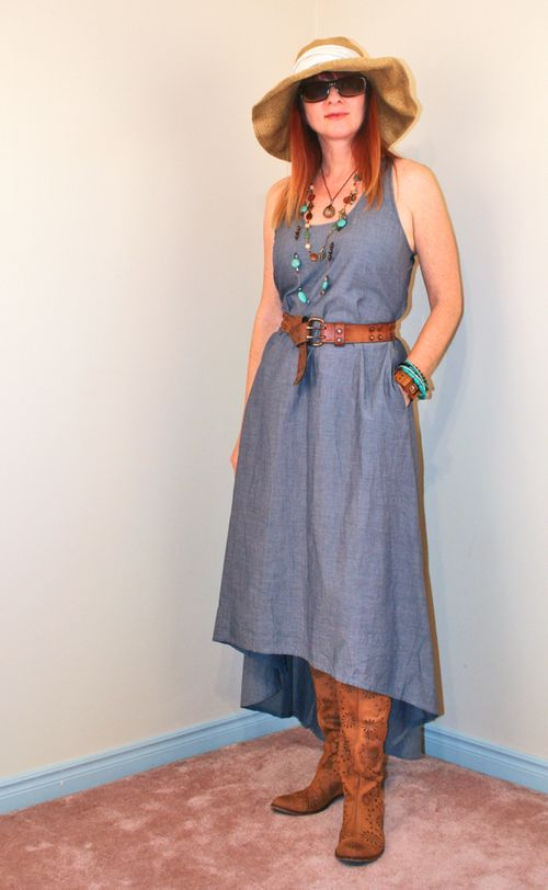 Anthropologie boots chambray dress