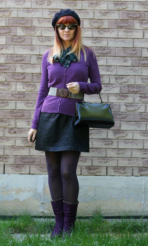 Purple booties black beret
