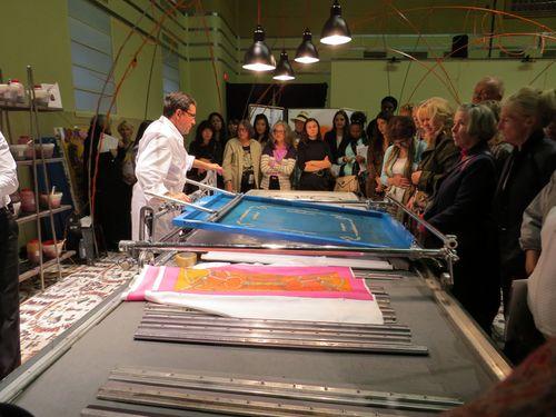 Silk screen printing hermes scarves