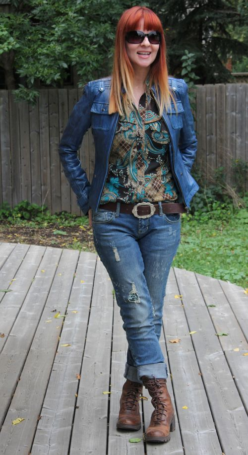 Jeans boots and blue leather jacket