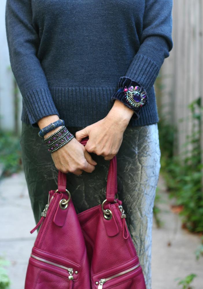Handmade velvet vintage jewel cuff