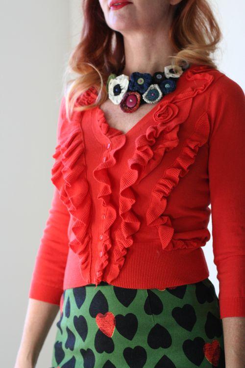 Anthropologie cardigan handmade necklace