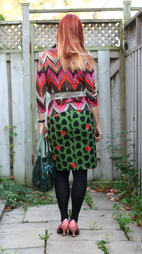 Back of green and black heart pencil skirt anthropologie