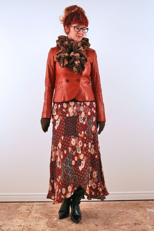Rust leather jacket patterned midi skirt
