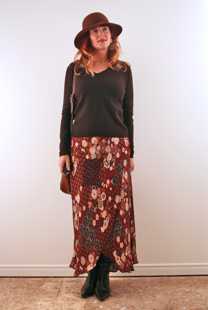 Brown cashmere sweater midi skirt