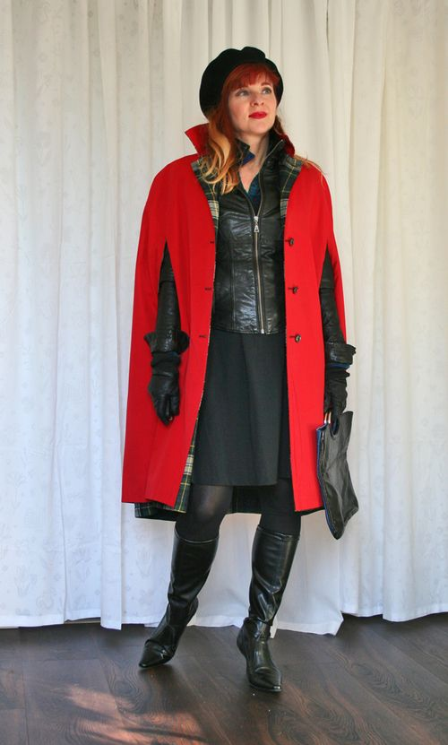 Red reversible vintage cape