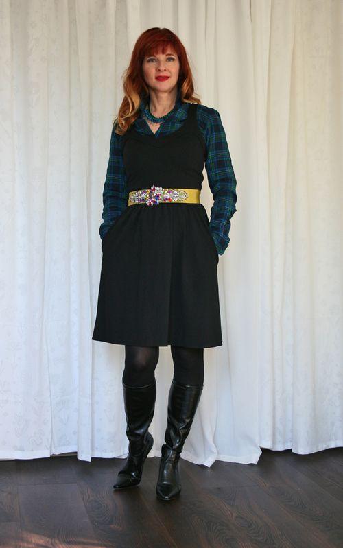 Plaid shirt black dress