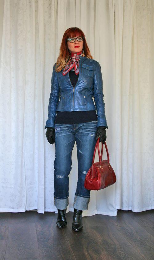 Danier blue leather jacket silk scarf