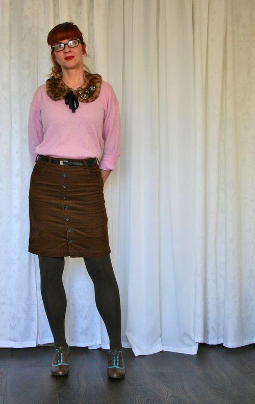 Brown skirt pink sweater