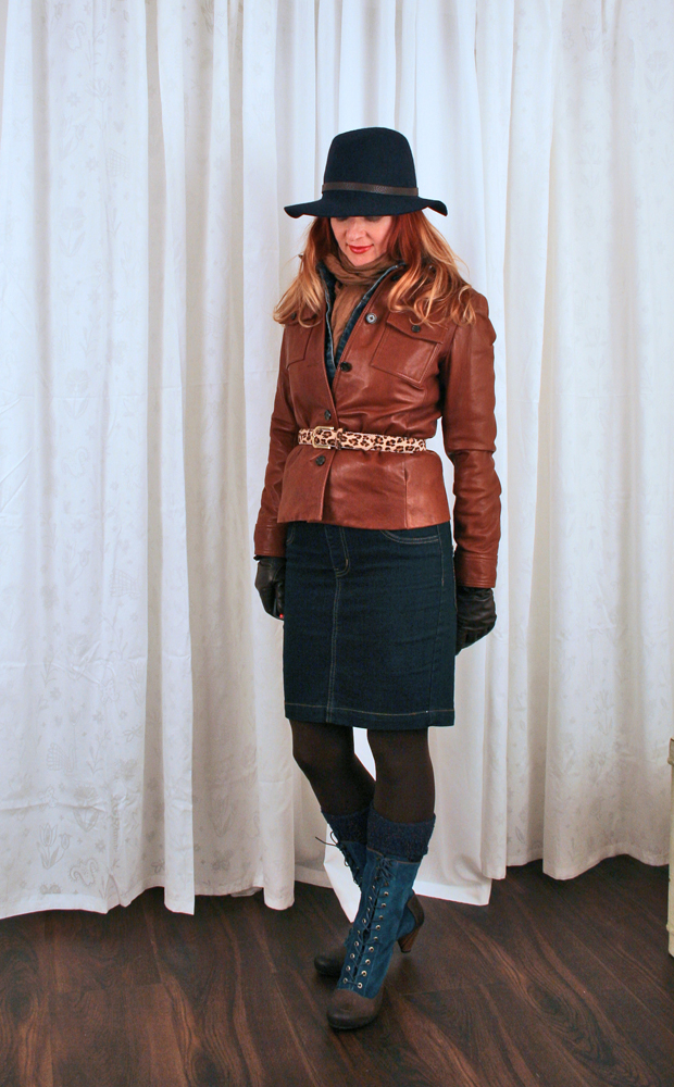 Jcrew brown leather jacket
